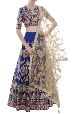 Blue lehenga set with colorful threadwork