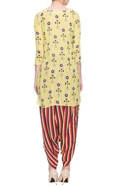 Pastel yellow printed kurta with striped cowl pants
