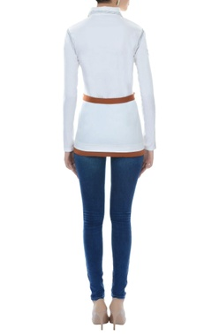 white top with belt & patch pocket