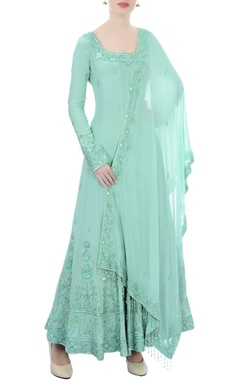 bright blue embellished anarkali with dupatta