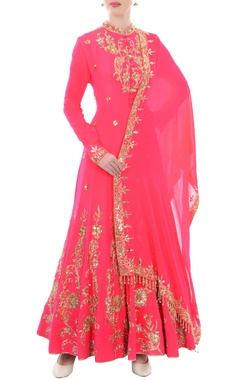 Pink & gold sequin embellished anarkali with dupatta