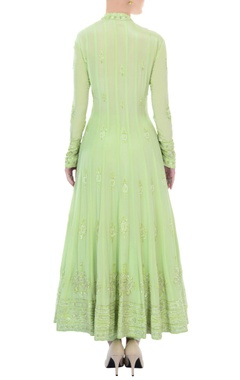 mint green bead embellished anarkali set