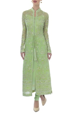 green embellished kurta & overlayer with churidar