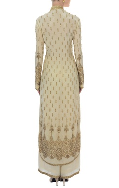 ivory & gold mandarin collar embellished kurta set