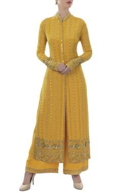 Mustard yellow embellished kurta & palazzo