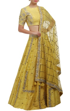 Mishru Yellow sequin and rose embroidered blouse and lehenga set
