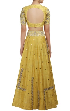 Yellow sequin and rose embroidered blouse and lehenga set