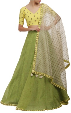 Mishru Yellow and green V-neck blouse and lehenga set