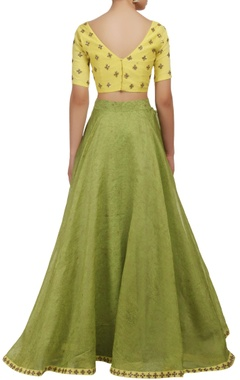 Yellow and green V-neck blouse and lehenga set