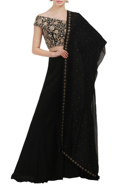 Mishru Black wide neck embroidered crop top and lehenga set
