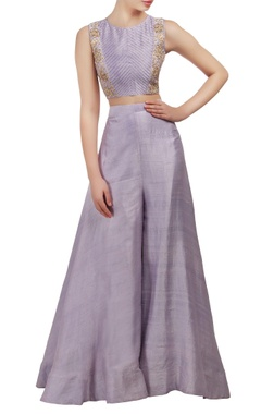 Mishru Lavender embroidered crop top and palazzo