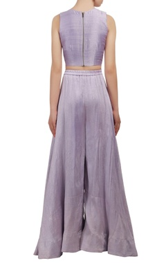 Lavender embroidered crop top and palazzo