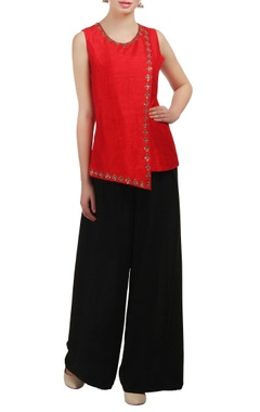 Mishru A red layered sequin embellished top
