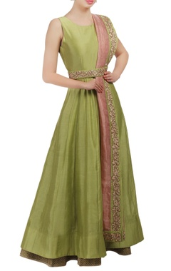 Mishru Light green and pink embroidered anarkali dress