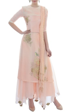 Peach layered kurta set