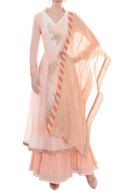 peach kurta set with skirt