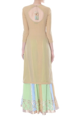 Beige kurta with multi-colored sharara pants & dupatta