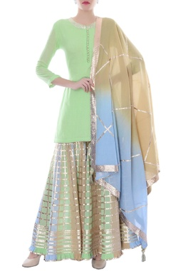 multi colored sharara with short kurta & dupatta