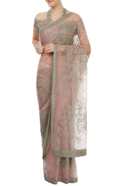 light pink embroidered sari