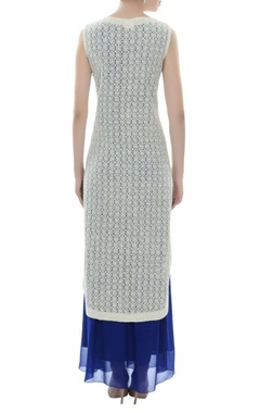 White beadwork kurta & royal blue skirt