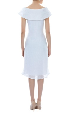 White boat neck dress