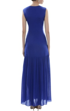 Royal blue embroidered maxi dress