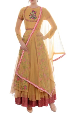 ochre layered anarkali set