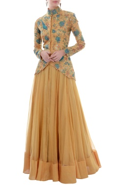 Ochre embroidered jacket lehenga set