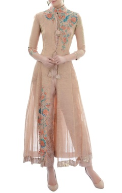 light brown embroidered kurta set
