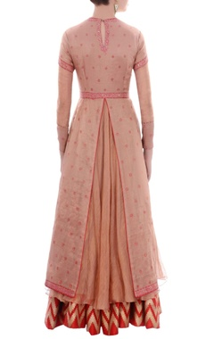 Peach layered anarkali set
