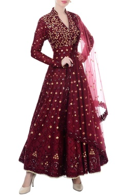 maroon mirror work anarkali set