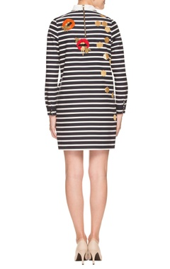 black & white striped dress with quirky applique