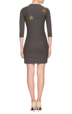 Grey bead work embellished sheath dress
