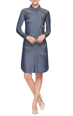 denim blue embroidered shirt dress