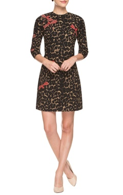 Black & beige animal print short dress