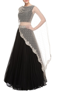 Black lehenga set with embellished cape