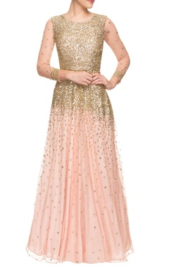 peach sequined gown