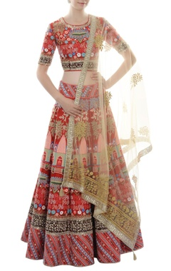 Red thread embroidered lehenga set