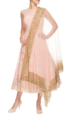 blush pink midi dress with dupatta