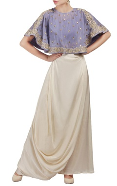 Mishru Purple and white embroidered cape crop top and draped skirt