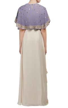 Purple and white embroidered cape crop top and draped skirt