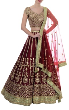 Ox-blood gota patti lehenga set