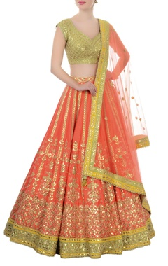Orange & green gota patti lehenga set