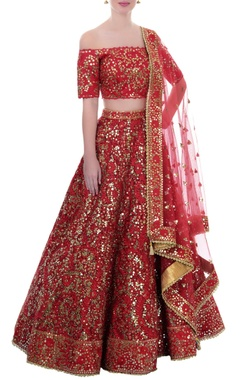 Red mirror work lehenga set