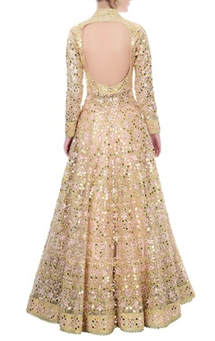peach mirror work anarkali set