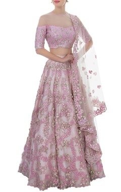 Lavender mirror work lehenga set