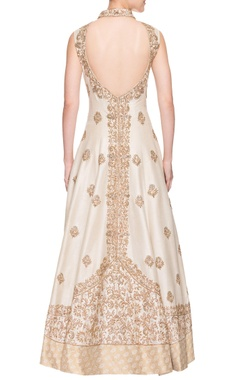 ivory embroidered low back gown