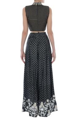 black & white printed crop top & palazzo pants