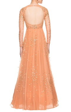 light orange sequined gown
