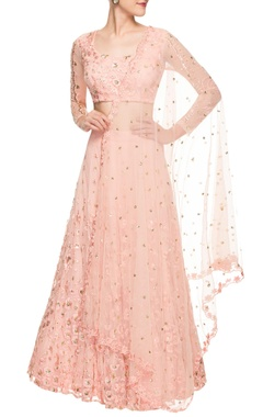 Blush pink embroidered lehenga set